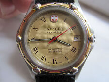 Men's Wenger S.A.K. Design Automatic Swiss Army Watch W/ Date & NOS US made Band