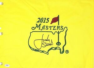 Jordan Spieth Signed Autograph Golf 2015 Masters Authentic Flag Full Name PSA