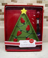 Hallmark Christmas Tree Serving Dish with Lighted Bulb Spreader - New