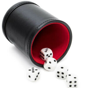 Professional Dice Cup Game with Five Dice Dark Stitched  Leather Brand