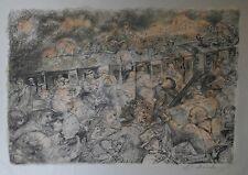 Lucien Philippe MORETTI - Lithographie originale signée - Sac de billes, Train 2