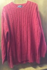 RALPH LAUREN MEN'S 100% COTTON CABLE KNIT SWEATER RED-MEDIUM-MADE IN UK