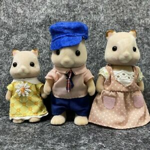 3X Sylvanian Families Dolls Fluffy Hamster Family Calico Critters Dollhose Toys