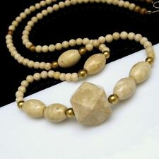 Vintage Long Chunky Statement Necklace Beige Marble Organic Stone Beads