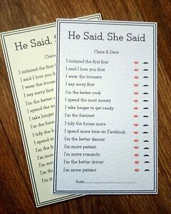 *Personalised wedding table cards game/quiz, He said, she said, Mr & Mrs*