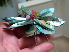 Amazing Shell Flower Gemstone CUFF BRACELET Garnet, Amethyst, Rose Quartz
