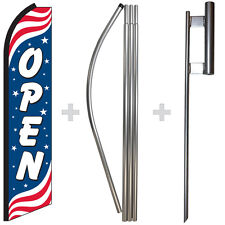 Open Patriotic 15 Tall Swooper Flag Amp Pole Kit Feather Super Bow Banner