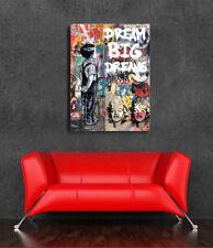 Dream Big Dreams Graffiti Canvas Print Street art Poster Mural 36 x 24