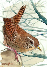 ACEO Limited Edition-Wren in winter forest, Bird art print, Gift for her
