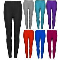 New Ladies Sexy Shiny Stretchy Disco High Waist Leggings Long Pants UK Size 8-14