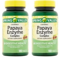 2pk Spring Valley Papaya Enzyme Digestive Health 180 Chewable Tablets