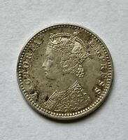 Indian 1889 Silver Victoria Quarter (1/4) Rupee - Bombay Type 2 rev, Bust Type C