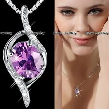 Unique Purple Crystal Necklace Birthday Gifts for Her Valentines Women Wife V2