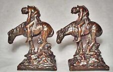 "Mint ""End of the Trail"" Bronze Clad Antique Bookends by Galvano Bronze ~1928"