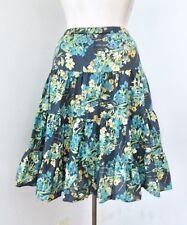 Garnet Hill Blue Green Gold Floral Cotton Tiered Peasant Skirt Elastic Waist 12