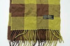 100% Cashmere Scarf Germany Moss Green Plaid