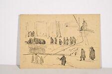 Jules PONCEAU 1881-1961 Petit Dessin Fusain Scène animée Paris 1906