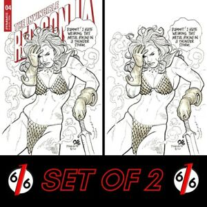 🚨🔥🗡 INVINCIBLE RED SONJA #4 SET FRANK CHO Cover D & 1:21 Virgin Ratio Variant