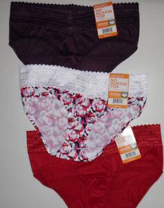 3 Warners Hipster Panty Set Nylon Lace Trim 5609 NWT 6 M Red Purple Flower Print
