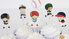 24 x Baseball Sports Cake Picks Cupcake Toppers Flags Kids Birthday Party