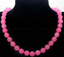 """AAA FACETED 10MM PINK JADE ROUND GEMSTONE BEADS NECKLACE 18"""""""