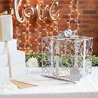Gift Card Holder Box Wedding Reception Money Silver Metal Decoration Birthday