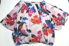 Vince Camuto Three-Quarter-Sleeve Floral Sheer Top Size Petite Small NWT