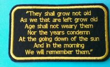 Remembrance Embroidery Patch they shall not grow old