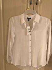 Eileen Fisher Classic Collar Shirt/blouse Drapy Tencel Crosshatch White PS