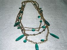 Vintage Multistrand Goldtone Chain Link with Green Plastic Bead Dangles Necklace