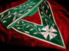 HANDSOME RARE Antique KNIGHTS TEMPLAR SILVER GREEN SASH! California Masonic Gem!
