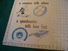 vintage 1950's Instructor kindergarden measure POSTER #11 COMPASS TELLS WHERE