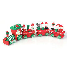 4Pcs Mini Wooden Christmas Santa Tree Train Room Ornament Kids Baby Toy Decor