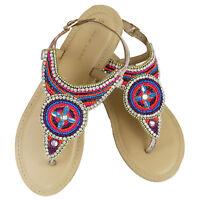 Women Summer Beach Diamante Sandals Ladies Ankles Strap Flat Low Shoes Sz 3-9