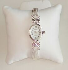 SIMPLE~ Made with SWAROVSKI CRYSTALS SILVER TONE LADIES BRACELET WATCH NEW