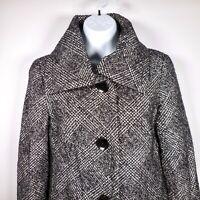 Talbots Tweed Wool Blend Womens 2 S Jacket Blazer Black White Metallic Thread