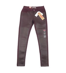 Levis 535 Super Skinny Womens Size 2 26x30 Mid Rise Coated Maroon Stretch Jeans