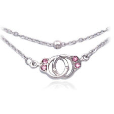 Pink Crystal Handcuffs Charm Bracelet Bead Link Double Chain Jewelry