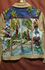 Charter Club women jean jacket hand painted size L tropical painting on back