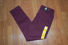 NWT Womens ABS by Allen Schwartz Stretchy Luxe Skinny Tawny Port Red Pants Sz 8