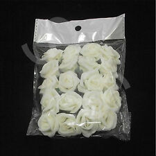Pack of 20 cream/ivory mini foam roses approx 2.5cm size on wired stems