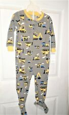 Carters Boys 1 Pc. Footed Pajamas Size 24 Months Gray/Yellow Trucks New