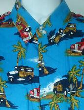 Sun Fusion Button Front Hawaiian Shirt Blue Woodie Cars Palm Tree