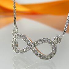 A-671 Kette Collier Unendlichkeit Infinity 925 Sterling Silber Rhodiniert