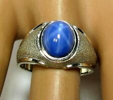 Vintage Men's Women's Ring 4CT 6 RAYS LINDE Star Sapphire 14K White Gold 9.9 g