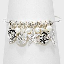 Starfish Bracelet Metal Bangle Charms Sand Dollar Sea Shell SILVER Beach Jewelry