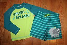 NWT Gymboree Swim Shop 2014 3T Set Green Blue Elephant Rashguard Shorts Swim