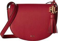NWT Lauren Ralph Dryden Caley Mini Saddle Crossbody Bag Crimson Red