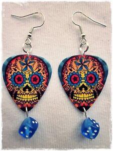 Ohrringe Gitarrenpicks Dia De Los Muertos Motiv, Paar