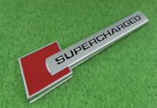 1 PZ Supercharged ALU ADESIVO STEMMA DISTINTIVO AUTO ROSSO + argento